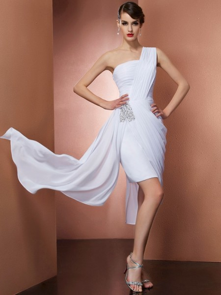 Sheath/Column One-Shoulder Pleats Beading Short Chiffon Homecoming Dress