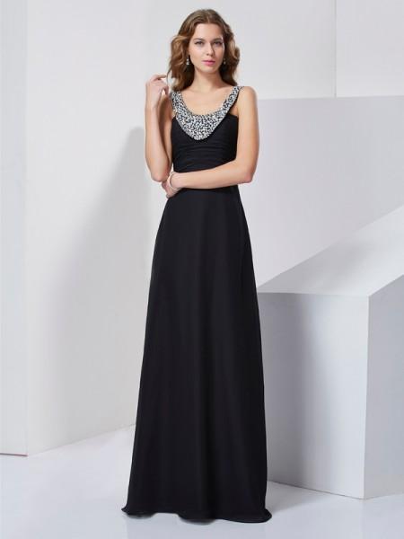 A-Line/Princess Scoop Beading Dress with Long Chiffon