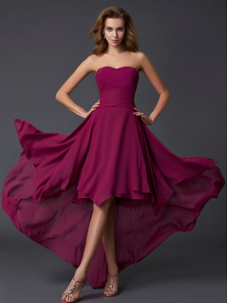 A-Line/Princess Sweetheart Pleats High Low Chiffon Dress