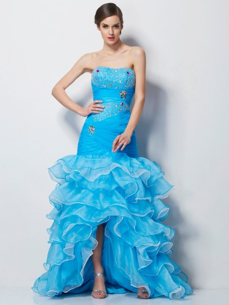 Trumpet/Mermaid Sweetheart Beading High Low Tulle Dress