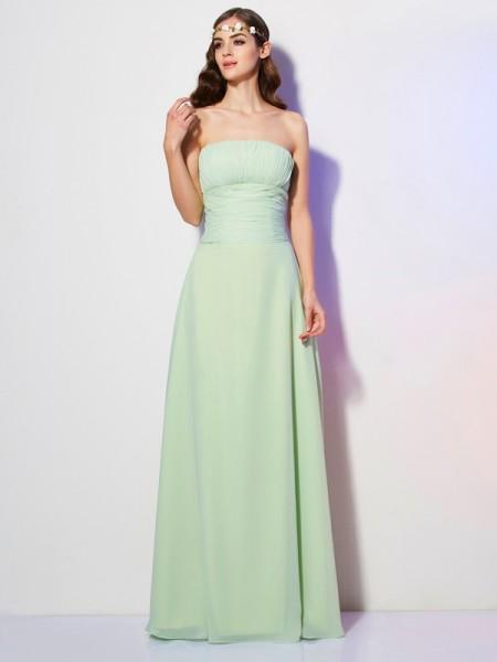 A-Line/Princess Strapless Pleats Bridesmaid Dress with Long Chiffon