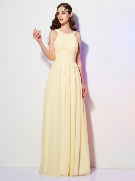 A-Line/Princess Bateau Pleats Bridesmaid Dress with Long Chiffon