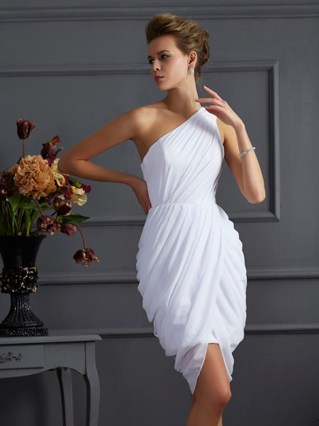 Sheath/Column One-Shoulder Pleats Short Chiffon Homecoming Dress