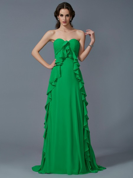 A-Line/Princess Sweetheart Ruffles Dress with Long Chiffon