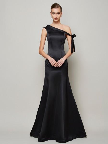 Trumpet/Mermaid One-Shoulder Bowknot Long Satin Dress