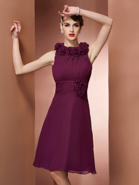 A-Line/Princess High Neck Short Chiffon Bridesmaid Dress
