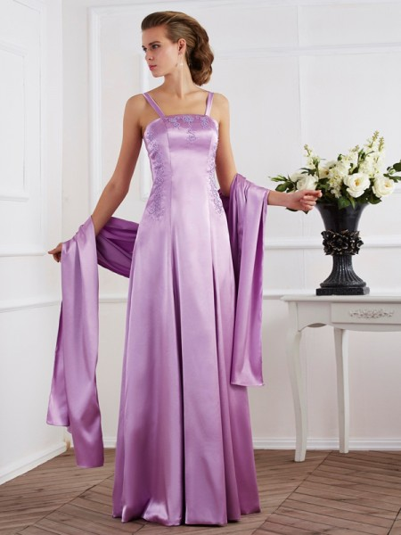 A-Line/Princess Spaghetti Straps Beading Long Elastic Woven Satin Mother of the Bride Dress