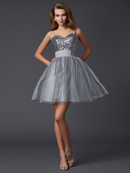 A-Line/Princess Spaghetti Straps Short Organza Homecoming Dress