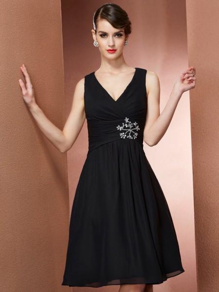 A-Line/Princess Straps Short Chiffon Bridesmaid Dress