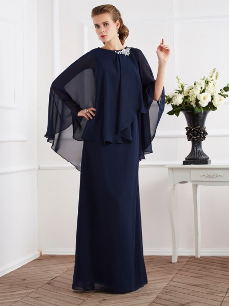 A-Line/Princess High Neck Mother of the Bride Dress with Long Chiffon
