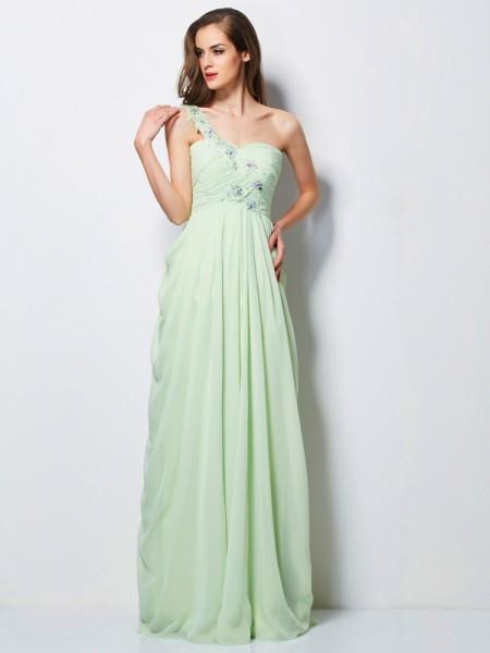 A-Line/Princess One-Shoulder Applique Dress with Long Chiffon