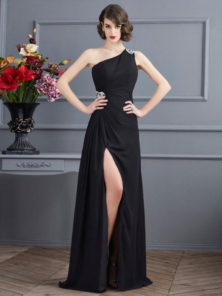 Sheath/Column One-Shoulder Beading Dress with Long Chiffon
