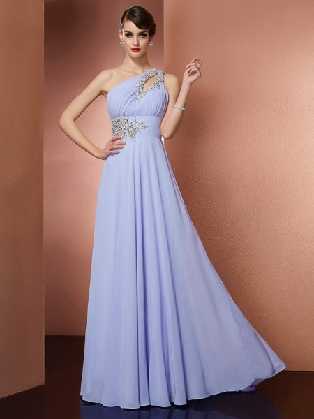 A-Line/Princess One-Shoulder Applique Beading Dress with Long Chiffon