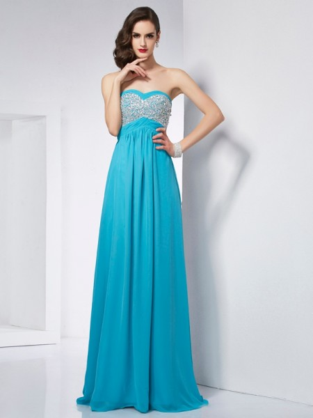 A-Line/Princess Sweetheart Dress with Long Chiffon