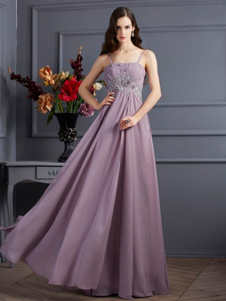 Empire Spaghetti Straps Beading Dress with Long Chiffon