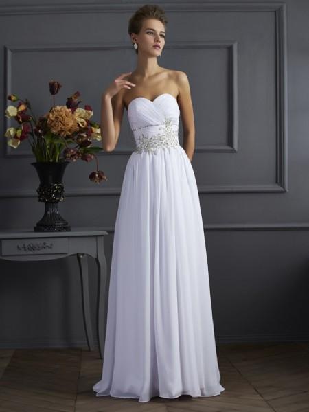 A-Line/Princess Sweetheart Beading Long Applique Chiffon Dress