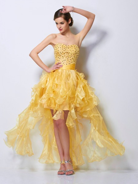 A-Line/Princess Sweetheart Beading High Low Tulle Homecoming Dress