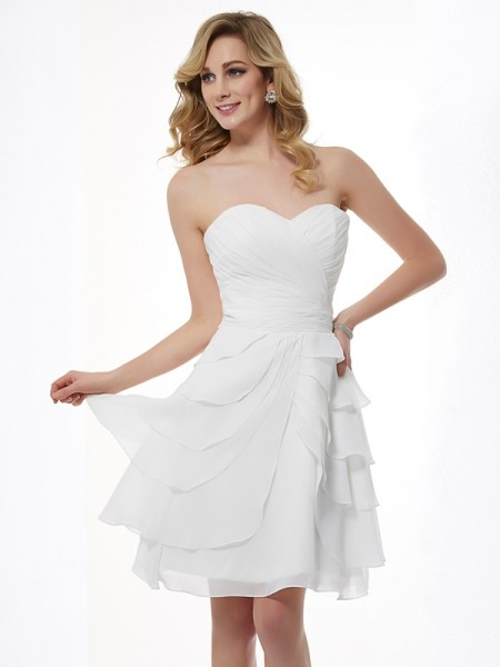 A-Line/Princess Sweetheart Pleats Short Chiffon Bridesmaid Dress