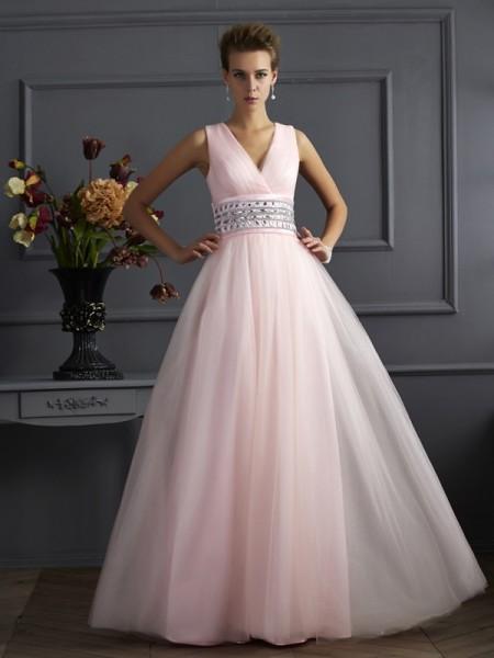 Ball Gown V-neck Beading Long Net Dress