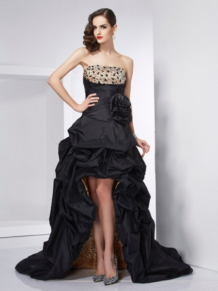 A-Line/Princess Strapless Beading High Low Taffeta Dress