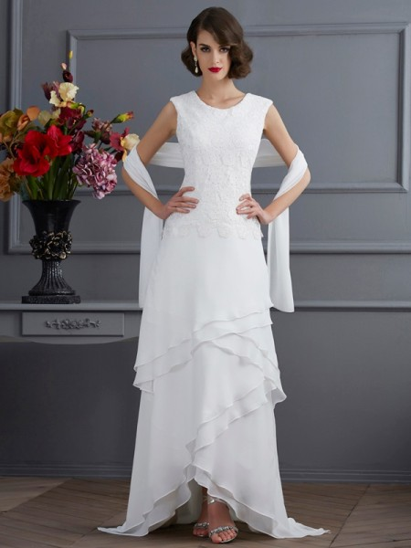 Sheath/Column Bateau Lace High Low Chiffon Mother of the Bride Dress