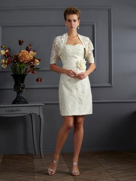 Sheath/Column Sweetheart Beading Short Taffeta Mother of the Bride Dress