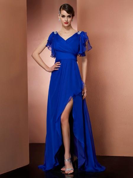 A-Line/Princess V-neck Beading High Low Chiffon Dress