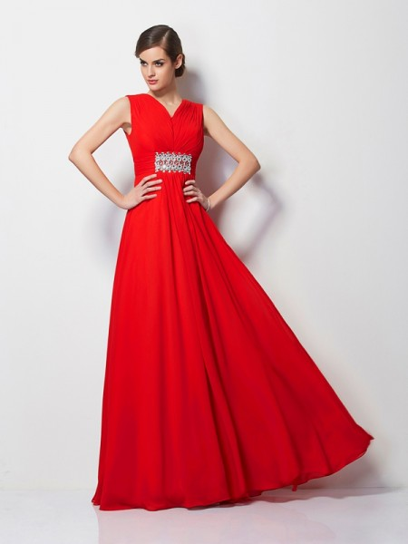 Sheath/Column V-neck Short Sleeves Beading Dress with Long Chiffon