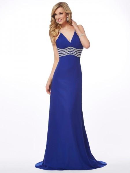 A-Line/Princess V-neck Beading Dress with Long Chiffon
