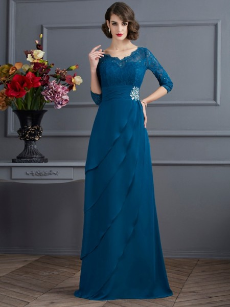A-Line/Princess V-neck Mother of the Bride Dress with Long Chiffon