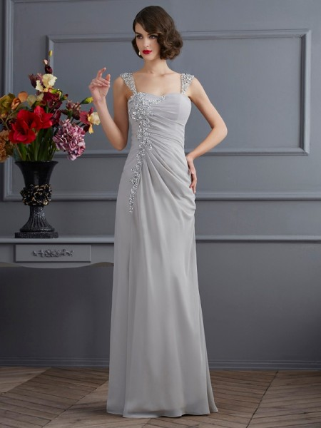 Trumpet/Mermaid Straps Beading Dress with Long Chiffon