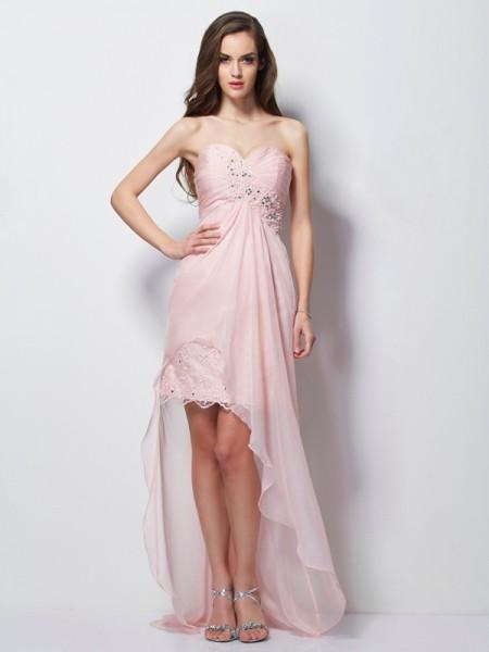 A-Line/Princess Sweetheart Beading Applique High Low Chiffon Dress