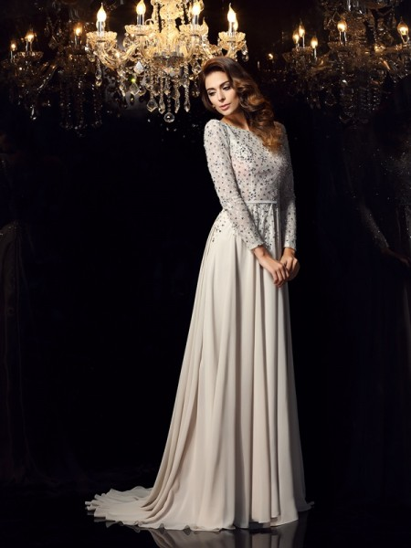 A-Line/Princess Scoop Beading Long Sleeves Dress with Long Chiffon