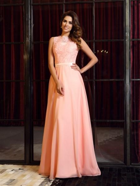 A-Line/Princess High Neck Applique Dress with Long Chiffon