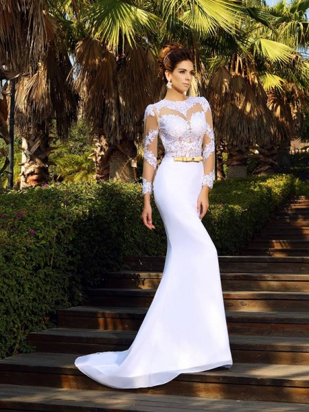 Sheath/Column Scoop Applique Long Sleeves Long Chiffon Wedding Dresses