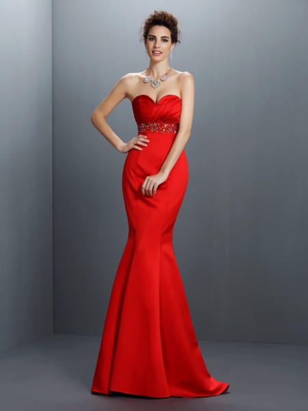 Trumpet/Mermaid Sweetheart Beading Long Satin Dress