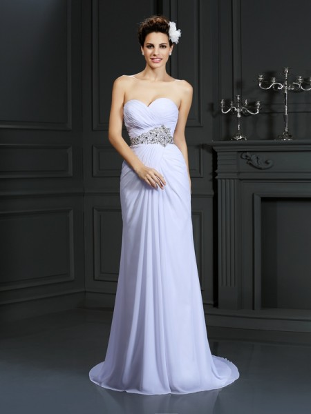 Sheath/Column Sweetheart Beading Wedding Dress with Long Chiffon
