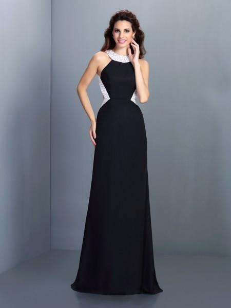 A-Line/Princess High Neck Beading Dress with Long Chiffon
