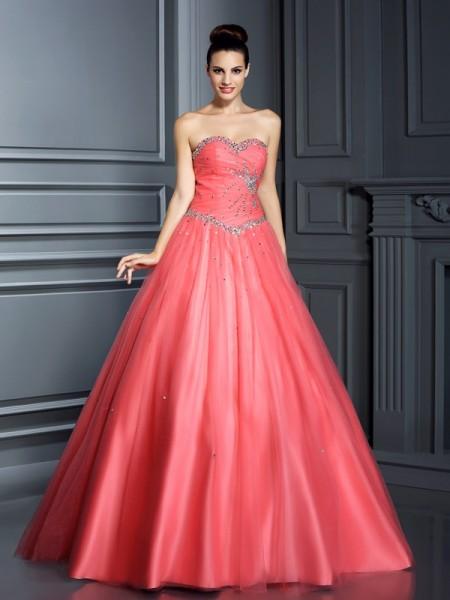 Ball Gown Sweetheart Beading Long Net Quinceanera Dress