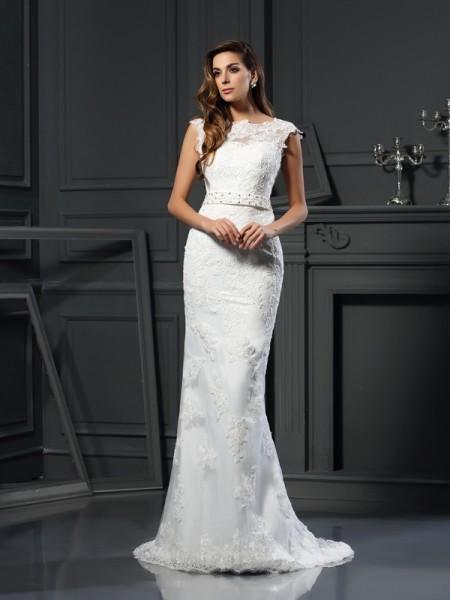 A-Line/Princess Bateau Lace Long Satin Wedding Dress