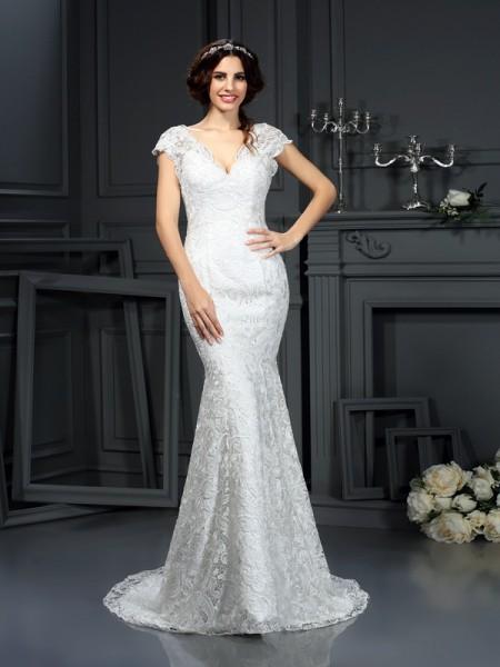 Trumpet/Mermaid V-neck Lace Long Lace Wedding Dress
