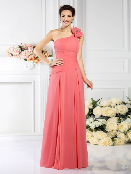 A-Line/Princess One-Shoulder Pleats Bridesmaid Dress with Long Chiffon