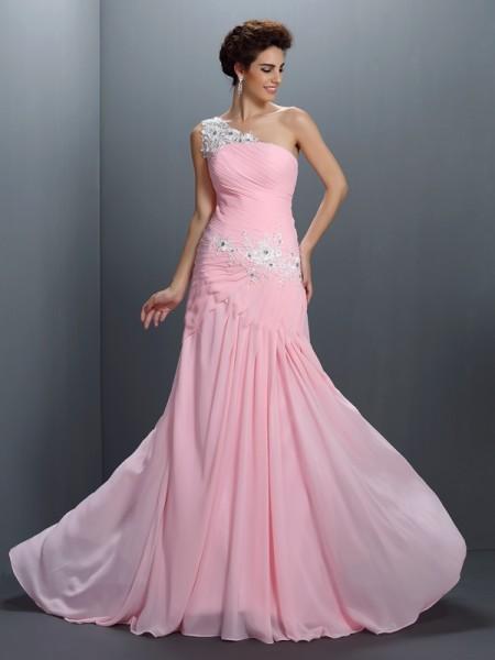 A-Line/Princess One-Shoulder Beading Applique Dress with Long Chiffon