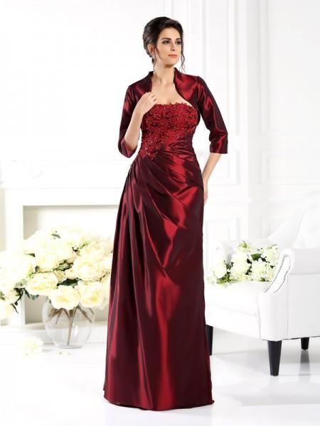 A-Line/Princess Strapless Applique 1/2 Sleeves Long Taffeta Mother of the Bride Dress