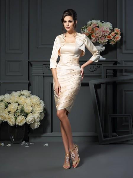Sheath/Column Strapless Pleats Short Satin Mother of the Bride Dress