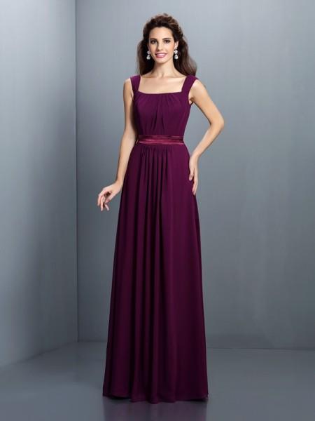 A-Line/Princess Square Pleats Bridesmaid Dress with Long Chiffon
