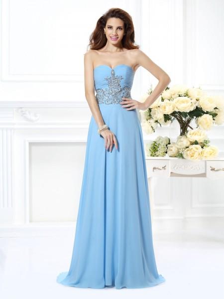 A-Line/Princess Sweetheart Beading Dress with Long Chiffon