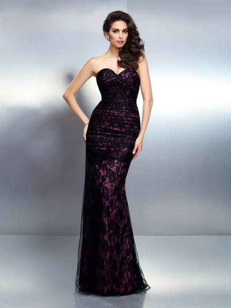 Trumpet/Mermaid Sweetheart Lace Long Elastic Woven Satin Dress