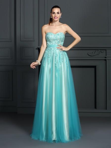 A-Line/Princess Sweetheart Applique Long Elastic Woven Satin Dress