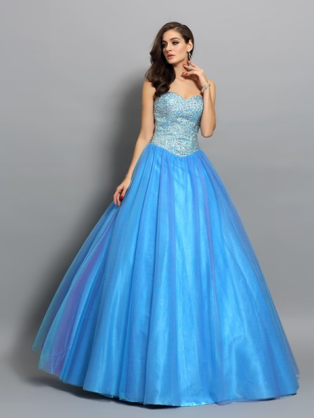 Ball Gown Sweetheart Beading Long Elastic Woven Satin Quinceanera Dress